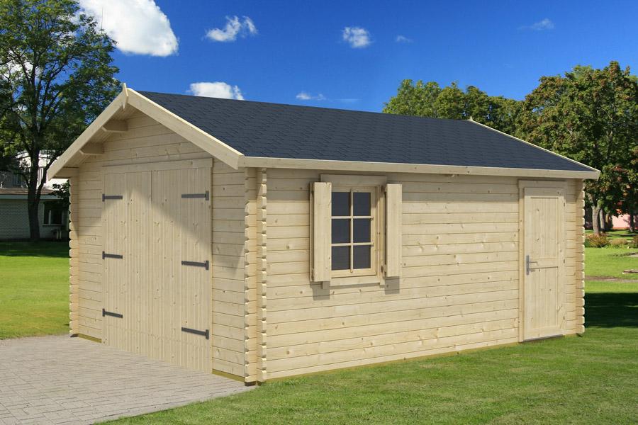 Garage bois kunda avec porte bois for Amenager mon jardin